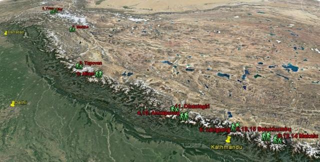 carte des treks réalisés