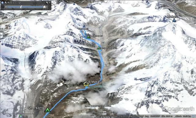 Situation parcours Glacier Barun effectué