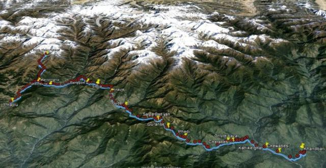 Situation trek Khandbari Phaplu